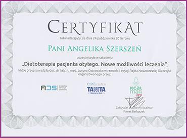 Certyfikat dietoterapia pacjenta otyłego