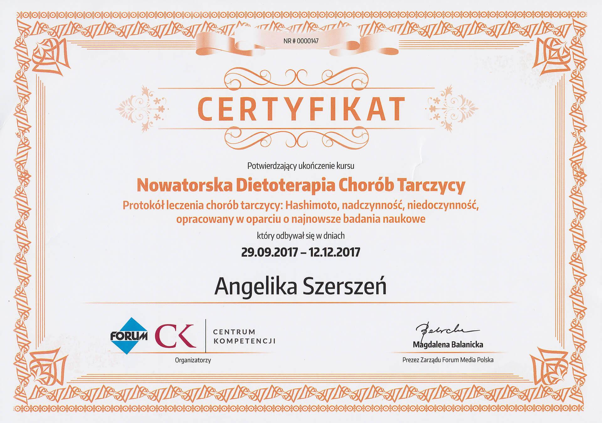 Certyfikat ukończenia kursu nowatorskiej dietoterapi chorób tarczycy
